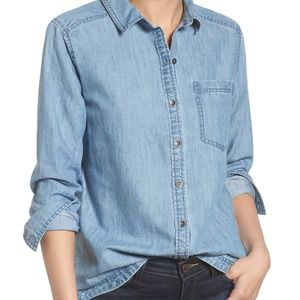 Nordstrom Caslon Button Front Chambray Shirt